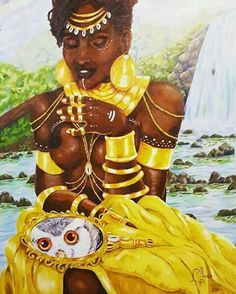 African Mythology, African Goddess, Goddess Names, Goddess Of Love, Mother Goddess, Yoruba Religion, Ifa Religion, Oshun Goddess, Goddess Art