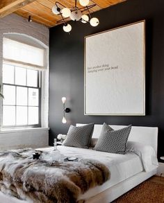 Une chambre cocooning moderne gris anthracite et blanc