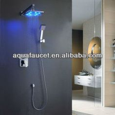 Bathroom Shower Tile Ideas Luxury Overhead Wall Mounted Waterfall Rain Shower Heads With Led Vanity Lighting And Manually Handled Rain Shower Heads Bathroom Shower Heads, Led Shower Head, Shower Mirror, Shower Faucet Sets, Bath Shower Mixer, Shower Set, Rain Shower, Dream Shower, Brass Bathroom