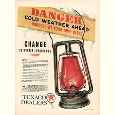 Original 1940 Texaco Danger Cold Weather Print Ad - Cars & Transportation Advertisement -An original vintage 1940 advertisement, not a reproduction -Measures approximately x to x -Ready for matting and framing. Gas Energy, Ad Car, Texaco, Print Ads, Cold Weather, Transportation, Advertising, Cars, The Originals
