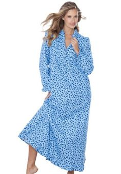 1c8a8d2557 Only Necessities Women s Long Cotton Flannel Print Gown Flannel Nightgown