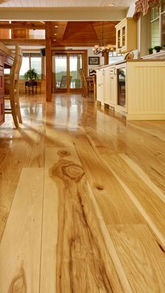 makeup Wide Plank Hickory Flooring Natures toughest wood by Carlisle Hickory Wood Floors, Modern Wood Floors, Cherry Wood Floors, Hardwood Floors In Kitchen, Natural Wood Flooring, Light Hardwood Floors, Refinishing Hardwood Floors, Solid Wood Flooring, Wide Plank Flooring