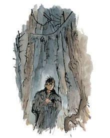 """Ilustración de """"Las Reliquias de la Muerte"""" por Quentin Blake"""
