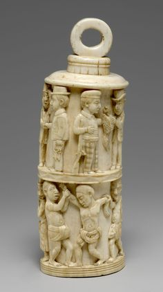 Receptacle with Figurative Relief and Stopper 1880–1890 Democratic Republic of the Congo, Loango region Kongo peoples; Vili group  Ivory