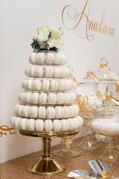 Elegant Gold + White Baptism Party Looking for Baptism party ideas? This Gold + White dessert table is just stunning! Visit Kara's Party Ideas TODAY for this and many other party ideas! Baptism Dessert Table, Baptism Desserts, White Dessert Tables, White Desserts, Elegant Dessert Table, Decoration Communion, First Communion Decorations, First Communion Cakes, Communion Centerpieces