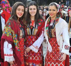 Bulgarian girls in traditional costumes