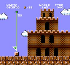 The castle from the original Super Mario Bros., by Nintendo, 1985.