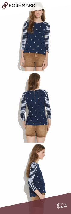 """Madewell Indigo Ink Bow Stripes Top Zipper Back Madewell Indigo Ink Bow Stripes Top Zipper Back  Women's Size M 100% Cotton Cute top, in great condition!  Armpit to armpit: 16"""" Length: 22""""  *Please check measurements. Thank you for looking! Madewell Tops"""