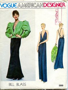 1970s Vogue 2303 SEXY EVENING GOWN Pattern & Puff Sleeves