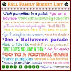 Fall Family Bucket List: Get out and have some fun with the family this fall!