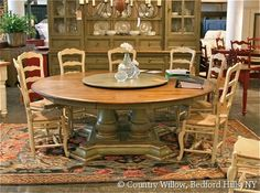Large round dining table & casual chairs- Country Willow Furniture