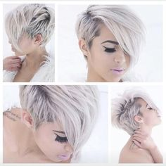 Snow white hair color and adorable short haircut and hairstyle Pixie Cut Styles, Short Hair Styles, Pixie Cuts, Love Hair, Great Hair, Pixie Hairstyles, Pretty Hairstyles, Children Hairstyles, Amazing Hairstyles