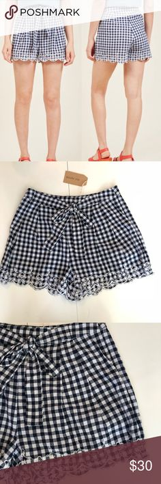 NWT ModCloth, Blu Pepper Gingham High Waist Shorts New with tags. Blu Pepper for Modcloth. I Am What I Am Gingham High Waisted Shorts. While flaunting these gingham shorts, it's easy to believe you're the most stylish you've ever been! A little flirty, a bit retro, and wholly adorable, this navy-and-white pair confirms your sartorial affirmations with its waistline tie, sweet embroidery, and scalloped hem. 100% Cotton Hand Wash Offers welcome through offer button. No trades. No modeling…