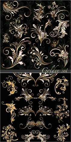 2 sets of vector golden floral ornaments with some decorative swirls for your classic designs. Stencils, Motif Floral, Floral Patterns, Pretty Patterns, Floral Design, Free Vector Graphics, Vector Vector, Vector Format, Vector Design