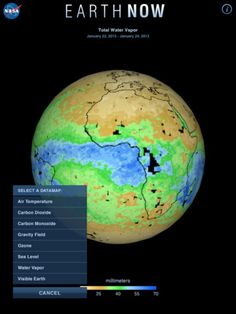 Earth-Now ($0.00) NASA's Earth Now  visualizes recent global climate data from Earth Science satellites, incl. surface air temperature, carbon dioxide, carbon monoxide, ozone, & water vapor as well as gravity & sea level variations. Color-coded legends are provided to indicate relative strength or weakness of an environmental condition. The resulting 3D model of the Earth may be rotated by a single finger stroke, and may also be zoomed in or out by pinching 2 fingers.