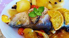 Lubina la horno con naranjas y azafrán, una receta sencilla y exquisita. Llena de color y mucho sabor.  Plato para hacer ahora q...