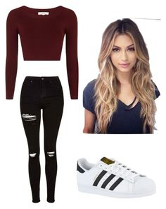 """Untitled #134"" by emilybriann4 ❤ liked on Polyvore featuring adidas and Topshop"
