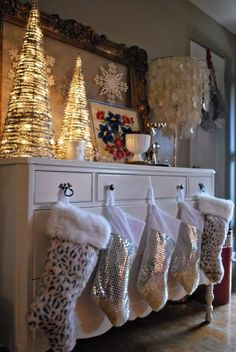 Drawer knobs can hang stockings too - if you don't have a fireplace or mantel to use.
