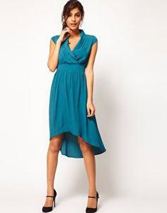 Enlarge ASOS Midi Dress With Dipped Hem And Collar, bridesmaids
