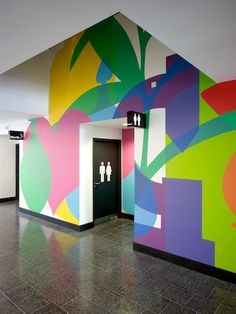 Wall graphics at Kentish Town Health Centre, UK by Architect AHMM (Allford Hall Monaghan Morris) Web Banner Design, Wall Design, Design Design, Book Design, Cover Design, Layout Design, Art Mural, Wall Murals, Wall Art