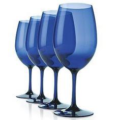 Indoor/Outdoor Cobalt Blue Wine Glasses (Set of - Wine Enthusiast Blue Drinking Glasses, Blue Wine Glasses, Plastic Wine Glasses, Vino Color, Cobalt Blue Kitchens, Blue Kitchen Accessories, Boat Accessories, Wine Glass Designs, Blue Drinks