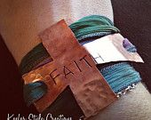 Hand Stamped Faith Cross with Fabric Wrap Bracelet