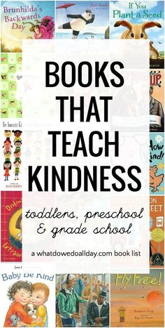 Books that Encourage Kindness Picture books about kindness. Books for toddlers, preschool and kindergartners on up.Picture books about kindness. Books for toddlers, preschool and kindergartners on up. Books About Kindness, Kindness For Kids, Teaching Kindness, What Is Kindness, Teaching Empathy, Kids Reading, Teaching Reading, Teaching Kids, Kindergarten Reading List