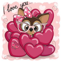 Photo about Valentine card with Cute Cartoon Puppy Girl in hearts. Illustration of cute, flower, image - 107748477