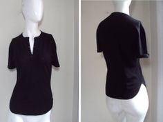 ALLUDE WOMEN by ANDREA KARG CASHMERE ESSENTIAL BASIC BLACK HENELY KNIT TEE TOP S