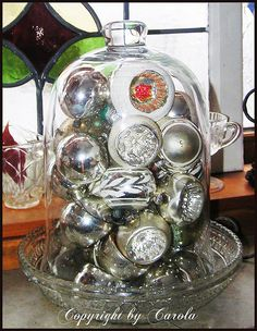 ornaments under glass #cloche #ornament #christmas