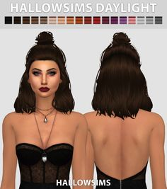 Sims 4 CC's – The Best: Daylight Hair by HallowSims – cabelo Sims Four, Sims 4 Cas, My Sims, The Sims 4 Cabelos, Pelo Sims, Sims4 Clothes, Sims 4 Cc Finds, Sims 4 Clothing, The Sims4