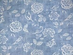 Denim blue bird garden cotton upholstery fabric
