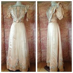 faded peach silk edwardian gown with floral accents