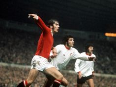 Football 1970's Manchester United's Jim Holton battles for the ball with Liverpool's Kevin Keegan during the match at Old Trafford