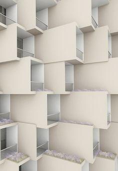 interlocking balconies (this reminds me of the hotel Neum balconies - Neum, Bosnia and Herzegovina)