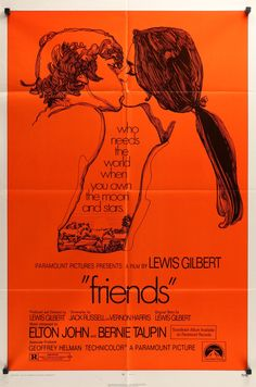 "Film: Friends (1971) Year poster printed: 1971 Country: USA Size: 27"" x 41"" This is a rare, vintage one-sheet movie poster from 1971 for the English coming-of-age drama Friends starring Anicee Alvina,"
