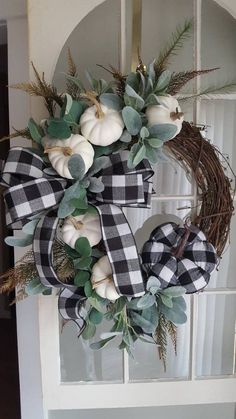 Fall wreath with white pumpkins & buffalo check ribbon - perfect for your autumn decorated Must-Have Wreaths for a Perfect Fall Porch - little blonde momRelated posts:How to Hang Wall Decor Perfectly Every TimeFavorite Wreaths for SummerOld Farmhouse Fall Wreath, Farmhouse Door, Farmhouse Halloween, Modern Farmhouse, White Wreath, Wreath Fall, Pumpkin Wreath, Summer Wreath, Holiday Wreaths