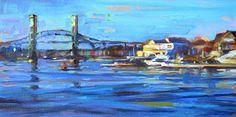 Karen Bruson: Pont à Portsmouth6x12 huile