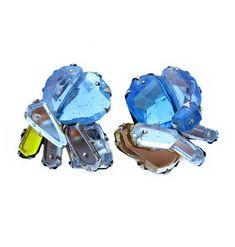 Orecchini Blue - Nikki Couppee - USA - Realizzati in plexiglass, argento e ottone