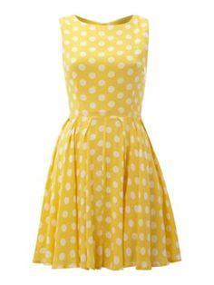 AX paris Polka dot skater dress Yellow - House of Fraser