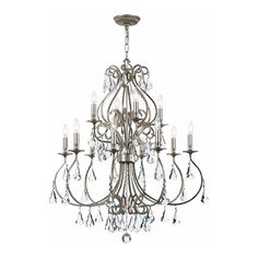 37x32. $1800 Ashton 12-Light Hand Cut Crystal Chandelier in Olde Silver | Nebraska Furniture Mart