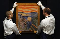 """'The Scream' fetches record prices  Sotheby's employees pose for a photograph with Edvard Munch's painting """"The scream"""" at Sotheby's auction house in London April 12, 2012. The painting, estimated to exceed $80 million (50.2 million pounds), sold in New York for a staggering $119.9M on May 2, 2012."""