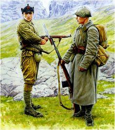 ARMATA ROSSA - Soldato, 3a Divisione della Guardia Nazionale di Leningrado, 7a Armata, agosto 1941 - Soldato della 52a Divisione Fucilieri, 14 Armata, Fronte Nord,agosto 1941