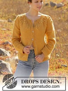 Cute leaf motif cardigan knitting pattern, free instant download Double Pointed Knitting Needles, Circular Knitting Needles, Knitting Patterns, Crochet Patterns, Aran Weight Yarn, Office Prints, Autumn Theme, Needles Sizes, Autumnal