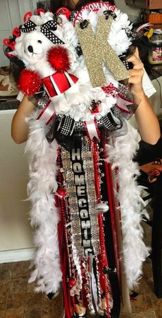 Junior Mum Idea--Bear with Drill Team and large M for the triple mum centerpiece