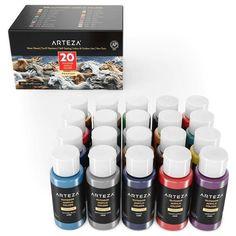 Outdoor Acrylic Paint, 59ml Bottles - Set of 20 | ARTEZA Outdoor Acrylic Paint, Acrylic Paint Set, Acrylic Colors, Paint Colors, Artist Painting, Painting On Wood, Rock Painting, How To Make Paint, Beautiful Rocks