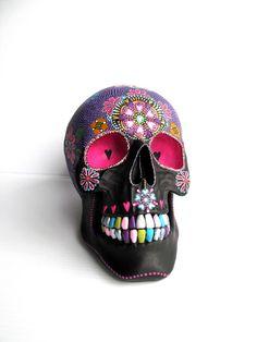 Items similar to Large Hand Painted Resin Skull Painted skull Sugar skull colorful skull on Etsy Skull Painting, Dot Painting, Amy Brown Fairies, Colorful Skulls, Day Of The Dead Art, Sugar Skull Art, Skull Design, Painted Pumpkins, Skull And Bones
