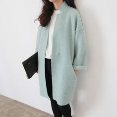 Fashion Women Coat 2015 Fall Winter Korean Style Brief Pocket Wide-waist Long Wool Blends Casacos Femininos Mint Green 5135 Hijab Fashion, Korean Fashion, Trendy Fashion, Winter Fashion, Fashion Dresses, Womens Fashion, Trendy Style, Coats For Women, Clothes For Women