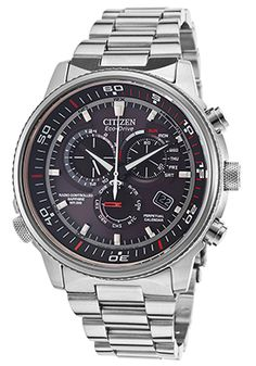 Men's Nighthawk A-T Chronograph Silver-Tone Steel Black Dial $381