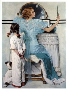 Woman At Vanity by Norman Rockwell, 1933…. DAUGHTER IS DREAMING OF THE DAY  SHE'LL BE SITTING AT THIS VANITY, GETTING READY FOR THAT SPECIAL OCCASION JUST LIKE MOMMA IS DOING HERE…….MOMMA WILL TELL HER ALL ABOUT IT TOMORROW MORNING……….ccp